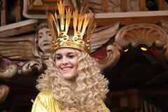Νυρεμβέργη Christkind - σύμβολο της αγοράς Χριστουγέννων στο ιστορικό ιπποδρόμιο στοκ εικόνες