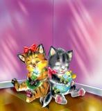 Νυσταλέα γατάκια Διανυσματική απεικόνιση