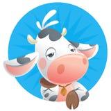 Νυσταλέο εικονίδιο σκέψης αγελάδων μωρών κινούμενων σχεδίων Στοκ εικόνα με δικαίωμα ελεύθερης χρήσης