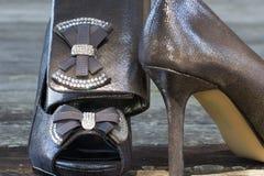 Νυφικά παπούτσια και πορτοφόλι συμπλεκτών Στοκ Εικόνα