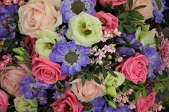 Νυφική ανθοδέσμη στο ροζ και το μπλε Στοκ Φωτογραφίες