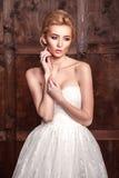Νυφικός πυροβολισμός ομορφιάς μόδας Όμορφη νύφη μόδας στην τοποθέτηση γαμήλιων φορεμάτων μπροστά από το ξύλινο υπόβαθρο στοκ φωτογραφία με δικαίωμα ελεύθερης χρήσης