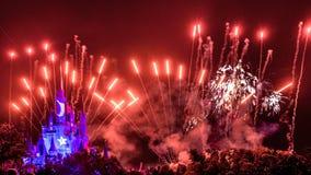 Νυχτερινά θεαματικά πυροτεχνήματα επιθυμιών Στοκ εικόνες με δικαίωμα ελεύθερης χρήσης