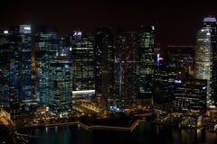 Νυχτερινή άποψη της Σιγκαπούρης Στοκ Φωτογραφίες