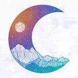 Νυχτερινός ουρανός και τοπίο βουνών υπό μορφή ημισεληνοειδούς φεγγαριού : Πρόσκληση Δερματοστιξία ελεύθερη απεικόνιση δικαιώματος