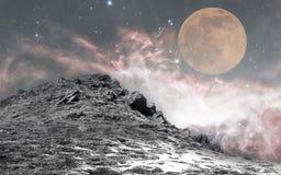 Νυχτερινός ουρανός και φεγγάρι Στοκ φωτογραφία με δικαίωμα ελεύθερης χρήσης