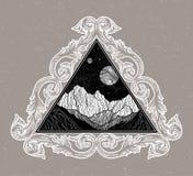 Νυχτερινός ουρανός με το τοπίο βουνών με μορφή ενός τριγώνου Απομονωμένη εκλεκτής ποιότητας διανυσματική απεικόνιση Πρόσκληση Δερ απεικόνιση αποθεμάτων