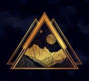 Νυχτερινός ουρανός με το τοπίο βουνών με μορφή ενός τριγώνου Απομονωμένη εκλεκτής ποιότητας διανυσματική απεικόνιση Πρόσκληση Δερ ελεύθερη απεικόνιση δικαιώματος