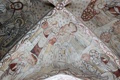 Νωπογραφία από το 1400s Adam και παραμονή στον παράδεισο Στοκ Εικόνες