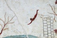 Νωπογραφία αρχαίου Έλληνα: Τάφος δύτη, Paestum Στοκ Εικόνα