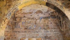 Νωπογραφία στο κάστρο ερήμων Quseir (Qasr) Amra κοντά στο Αμμάν, Ιορδανία Στοκ Εικόνα