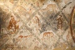 Νωπογραφία στο κάστρο ερήμων Quseir (Qasr) Amra κοντά στο Αμμάν, Ιορδανία Στοκ Εικόνες