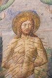 Νωπογραφία στο SAN Gimignano - μαρτύριο του ST Sebastian Στοκ Φωτογραφίες