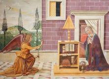 Νωπογραφία στο SAN Gimignano - Annunciation Στοκ Φωτογραφίες