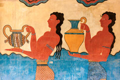 Νωπογραφία φορέων φλυτζανιών από τη Κνωσό Στοκ Εικόνες