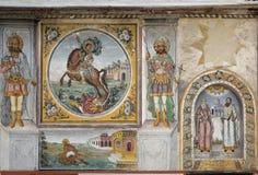 Νωπογραφίες και έργα ζωγραφικής στο μοναστήρι Bachkovo Στοκ Εικόνες