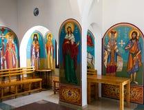 Νωπογραφίες και εικονίδια στην εκκλησία Profitis Elias Στοκ Εικόνα