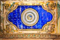 Νωπογραφίες που διηγούνται την ινδή μυθολογία στο ναό Brihadeeswarar, Thanjavur Στοκ Εικόνες
