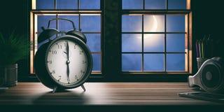 Νωρίς το πρωί Ξυπνητήρι σε ένα ξύλινο γραφείο γραφείων τρισδιάστατη απεικόνιση Στοκ φωτογραφίες με δικαίωμα ελεύθερης χρήσης