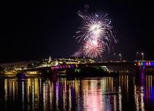Νόβι Σαντ το /Serbia - 12 Ιουλίου 2018: Πυροτεχνήματα στη βραδιά των εγκαινίων του φεστιβάλ μουσικής εξόδων Στοκ Φωτογραφίες