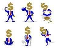 Νόμισμα-άτομο δολαρίων στη διαφορετική κατάσταση Απεικόνιση αποθεμάτων