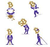 Νόμισμα-άτομο Bitcoin τέτοιος επιχειρηματίας Διανυσματική απεικόνιση