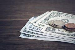 Νόμισμα, απόκτηση χρημάτων αμερικανικών δολαρίων ή πληρωμή στοκ εικόνες