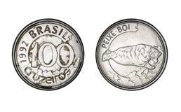 Νόμισμα εκατό cruzeiros, έτος 1992 - παλαιά νομίσματα από τη Βραζιλία στοκ εικόνα με δικαίωμα ελεύθερης χρήσης