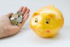 Νόμισμα εκμετάλλευσης χεριών Στοκ φωτογραφίες με δικαίωμα ελεύθερης χρήσης