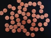Νόμισμα ενός δολαρίου σεντ, Ηνωμένες Πολιτείες πέρα από το Μαύρο Στοκ Φωτογραφία