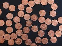 Νόμισμα ενός δολαρίου σεντ, Ηνωμένες Πολιτείες πέρα από το Μαύρο Στοκ Εικόνα