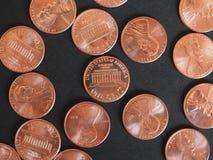 Νόμισμα ενός δολαρίου σεντ, Ηνωμένες Πολιτείες πέρα από το Μαύρο Στοκ εικόνες με δικαίωμα ελεύθερης χρήσης