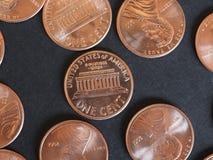 Νόμισμα ενός δολαρίου σεντ, Ηνωμένες Πολιτείες πέρα από το Μαύρο Στοκ φωτογραφίες με δικαίωμα ελεύθερης χρήσης