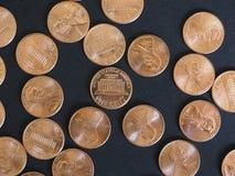 Νόμισμα ενός δολαρίου σεντ, Ηνωμένες Πολιτείες πέρα από το Μαύρο Στοκ Εικόνες