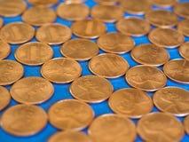 Νόμισμα ενός δολαρίου σεντ, Ηνωμένες Πολιτείες πέρα από το μπλε Στοκ Εικόνες