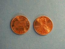 Νόμισμα ενός δολαρίου σεντ, Ηνωμένες Πολιτείες πέρα από το μπλε Στοκ εικόνα με δικαίωμα ελεύθερης χρήσης