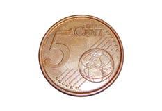 Νόμισμα 5 ευρο- σεντ Στοκ Εικόνα