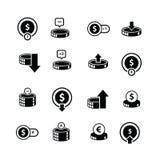 Νόμισμα και εικονίδιο 16 φυσαλίδων στοιχείο Στοκ Εικόνες