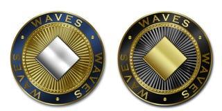 Νόμισμα ΚΥΜΑΤΩΝ Cryptocurrency Στοκ Εικόνα