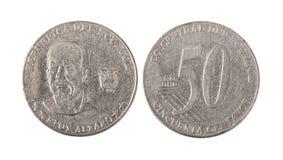 Νόμισμα, μέτωπο & πλάτη του Ισημερινού παλαιό 50 Centavos στοκ εικόνα με δικαίωμα ελεύθερης χρήσης