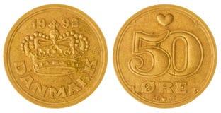 νόμισμα 50 μεταλλεύματος 1992 που απομονώνεται στο άσπρο υπόβαθρο, Δανία Στοκ φωτογραφία με δικαίωμα ελεύθερης χρήσης