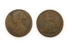 νόμισμα μια πένα Στοκ Εικόνες
