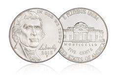 Νόμισμα νικελίου πέντε σεντ Στοκ Εικόνες