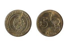 Νόμισμα Ουρουγουανών πέντε πέσων Στοκ φωτογραφία με δικαίωμα ελεύθερης χρήσης