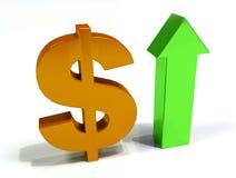 Νόμισμα δολαρίων αύξησης τρισδιάστατο Στοκ εικόνα με δικαίωμα ελεύθερης χρήσης