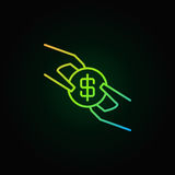 Νόμισμα δολαρίων στο ζωηρόχρωμο εικονίδιο χεριών ελεύθερη απεικόνιση δικαιώματος