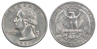 Νόμισμα δολαρίων τετάρτων στοκ εικόνα