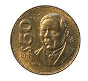 Νόμισμα 50 πέσων (Benito Juarez) που εκδίδεται το 1984 Τράπεζα του Μεξικού Ob Στοκ Εικόνες