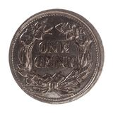 νόμισμα 1 σεντ, Ηνωμένες Πολιτείες απομονώνω πέρα από το λευκό Στοκ φωτογραφία με δικαίωμα ελεύθερης χρήσης