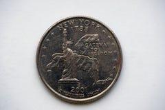 Νόμισμα 25 σεντ - τέταρτο ` Νέα Υόρκη ` Ουάσιγκτον στοκ φωτογραφίες με δικαίωμα ελεύθερης χρήσης